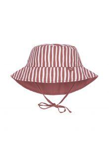 Lässig---Wendbarer-UV-Bucket-Hut-für-Babys---Gestreift---Rot