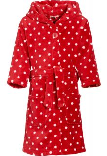 Playshoes---Fleece-Bademantel-mit-Kapuze---Punkte-Rot