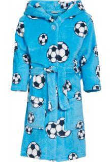 Playshoes---Fleece-Bademantel-mit-Kapuze---Fußball-Blau