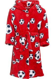 Playshoes---Fleece-Bademantel-mit-Kapuze---Fußball-Rot
