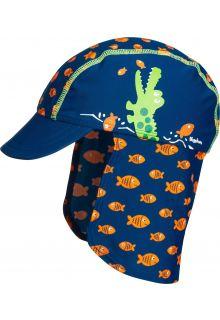 Playshoes---UV-Sonnenkappe-für-Kinder---Krokodil---Blau