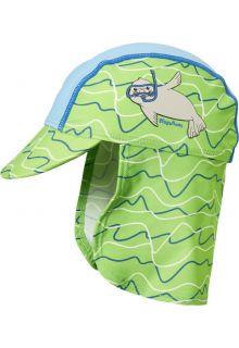 Playshoes---UV-Kappe-mit-Nackenschutz-für-Kinder---Robbe---Blau-/-Grün