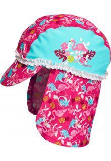 Playshoes---UV-Sonnenkappe-für-Mädchen---Flamingo---Türkis-/-Pink