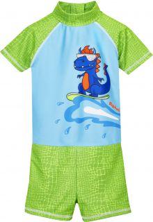 Playshoes---UV-Schutz-Einteiler-für-Jungen---Dino---Hellblau/Grün