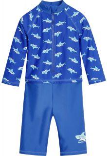 Playshoes---UV-Schutz-Einteiler-für-Jungen---Langarm---Hai---Blau