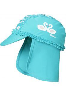 Playshoes---UV-Kappe-mit-Nackenschutz-für-Mädchen---Schwäne---Hellblau