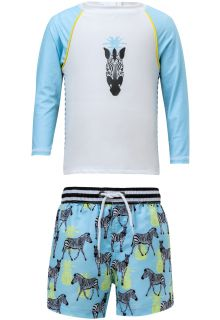 Snapper-Rock---UV-Badeset-mit-Boardshorts---Zebra---Blau/Weiß