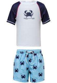Snapper-Rock---UV-Badeset-mit-Boardshorts---Blau-Crab---Blau/Weiß
