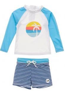 Snapper-Rock---UV-Badeset-für-Babies---Langarm---Sunset-Stripe---Weiß/Hellblau