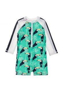 Snapper-Rock---UV-Badeanzug-für-Babies---Langarm---Toucan-Talk---Mintblau