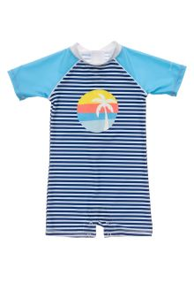 Snapper-Rock---UV-Badeanzug-für-Babies---Kurzarm---Blau/Weiß