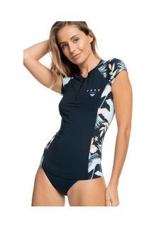 Roxy---UV-Badeshirt-für-Damen---Half-Zip-Lycra---Anthrazit/Geblümt