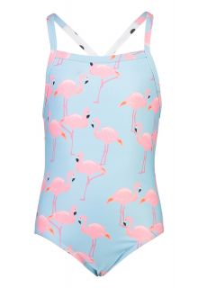 Snapper-Rock---X-Back-Badeanzug-für-Mädchen---Flamingo-Social---Hellblau