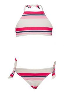 Snapper-Rock---Halter-Bikini---Dunkelblau-/-Rosa-gestreift-