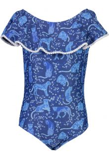 Snapper-Rock---Off-Shoulder-Badeanzug-für-Mädchen---Cheetah-Frill---Blau