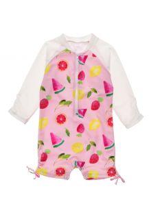 Snapper-Rock---UV-Badeanzug-für-Babies---Langarm---Fruit-Fiesta---Rosa