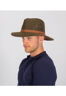 Rigon---UV-Fedorahut-für-Herren---Kunstleder---Vintage-Braun