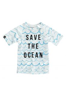 Beach-&-Bandits---UV-Schwimmshirt-Kinder---Save-the-ocean---Blau/Weiß