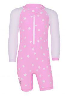 JUJA---UV-Schwimmanzug-für-Babys---Langärmlig---Stars---Rosa