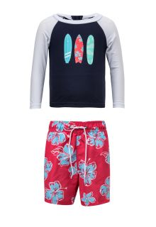 Snapper-Rock---UV-Badeset---Hibiscus-Surfboard---Blau/Rot