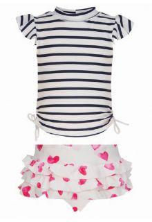 Snapper-Rock---UV-schützendes-T-Shirt-mit-Hose-für-Baby---Dunkelblau/-Weiß-gestreift-mit-Herzchen