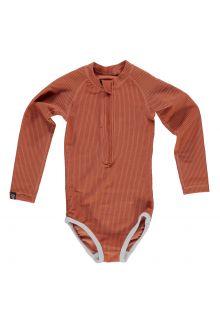 Beach-&-Bandits---UV-Badeanzug-für-Mädchen---Ribbed-Kollektion---Erdfarbe