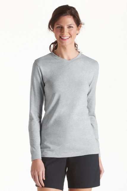 Coolibar---UV-V--Hals-T-Shirt-Damen---Grau