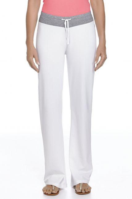Coolibar---UPF50+-Frauen-Lakefront-Pants---Weiß/Grau