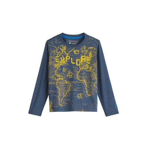 Coolibar---UV-Langarmshirt-für-Kinder---Explore---Dunkelblau-mit-Motiv