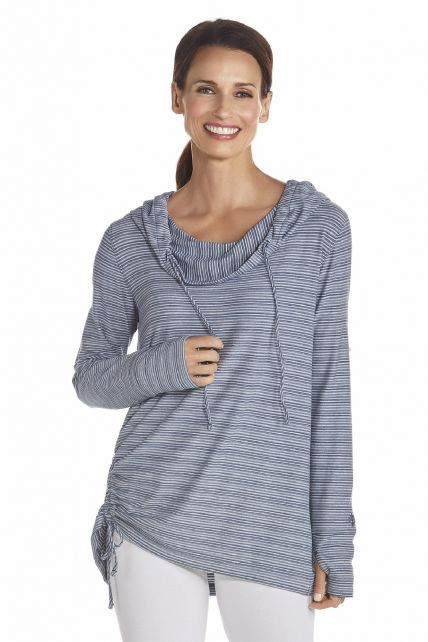 Coolibar---UV-T-Shirt-langer-Arm-Damen---Dunkelblau/Wei?