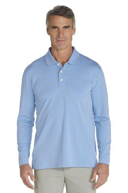 Coolibar---UV-Langarm--Polo-Herren---leuchtend-blau