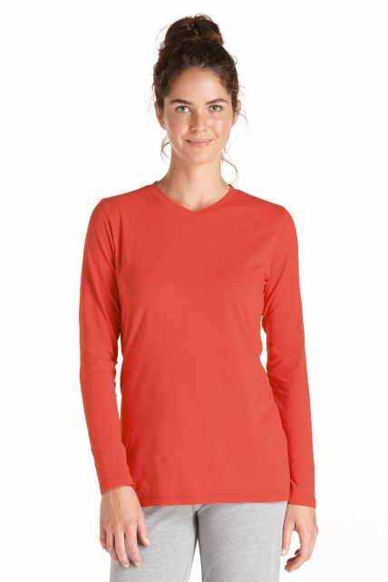 Coolibar---Langarm-UV-Shirt-Damen---Sienna-rot
