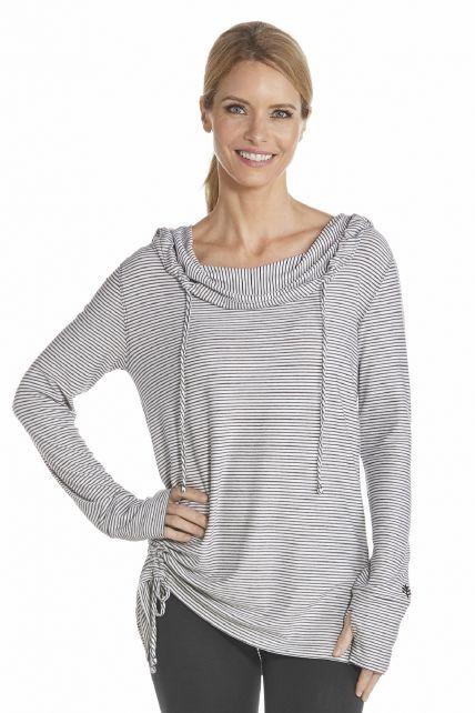 Coolibar---UV-T-Shirt-langärmlig-für-Damen---Schwarz/Weiß