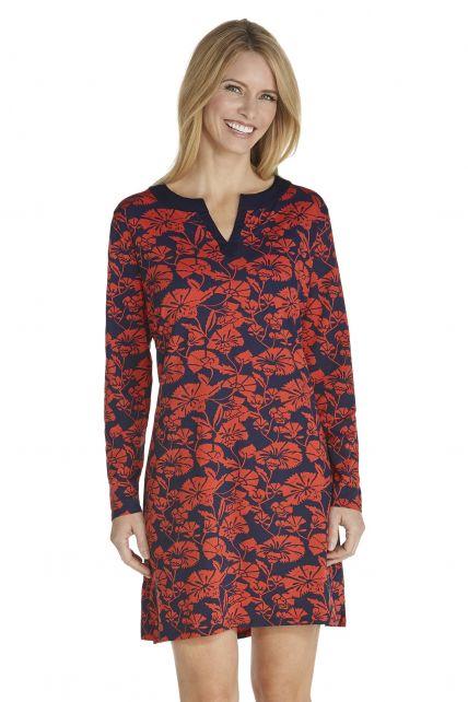 Coolibar---UV-Strandkleid-Blumen---dunkelblau/rot
