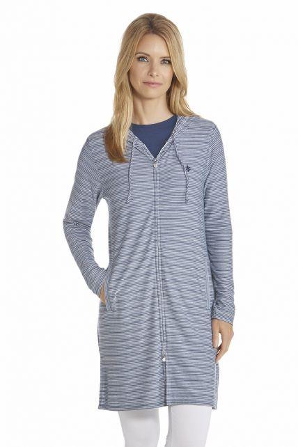 Coolibar---UV-Kleid-mit-langem-Arm-und-Reißverschluss-Damen---Dunkelblau/-Weiß