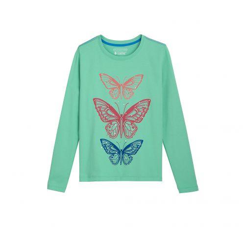 Coolibar---UV-Langarmshirt-für-Kinder---Schmetterlinge---Grün