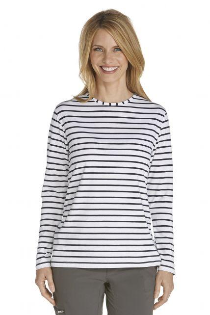 Coolibar---UV-Shirt-für-Damen---Langärmlig---Morada---Weiß/Marine
