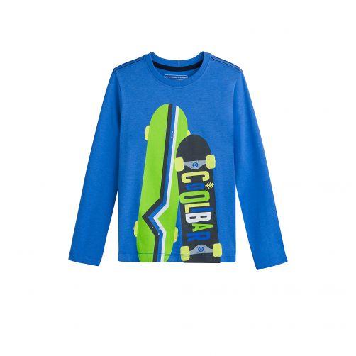 Coolibar---UV-Langarmshirt-für-Kinder---Skateboards---Blau