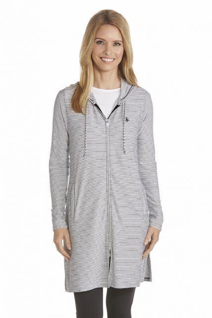 Coolibar---UV-Kleid-mit-langem-Arm-und-Reißverschluss-Damen---Schwarz/-Weiß