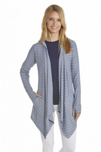 Coolibar---UV-Asymmetrische-Jacke-Damen---Dunkelblau/Wei?