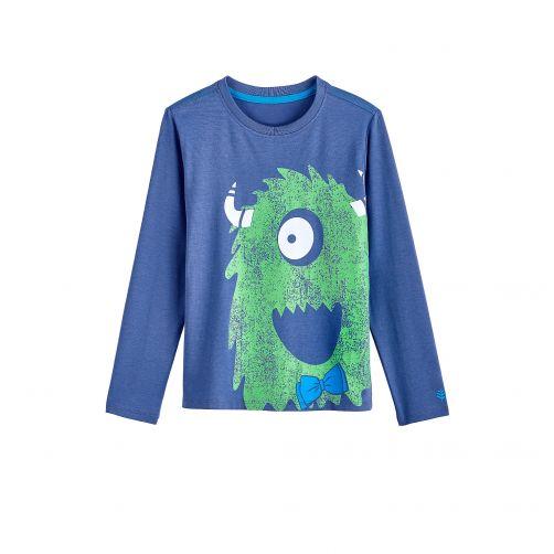 Coolibar---UV-Langarmshirt-für-Kinder---Grün-/-Monster-Print