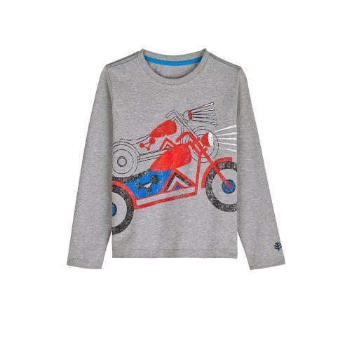 Coolibar---UV-Langarmshirt-für-Kinder---Grau-/-Motorrad-Print