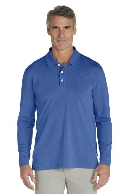Coolibar---UV-Langarm--Polo-Herren---blau