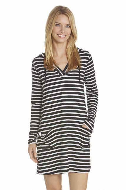 Coolibar---UV-Strandkleid-mit-V--Hals-Damen---Schwarz/Weiß