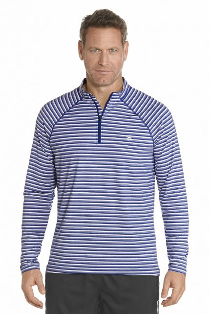 Coolibar---Golf-Pullover---Blau-gestreift
