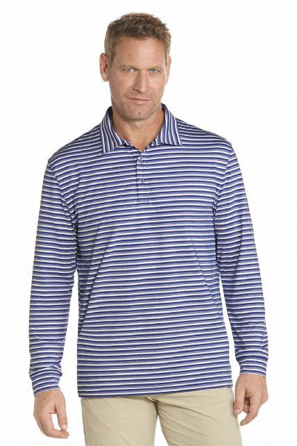 Coolibar---Langer-Arm-Golf-Polo---Blaue-Streifen