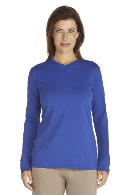 Coolibar---Langarm-UV-Shirt-Damen---kobalt-blau