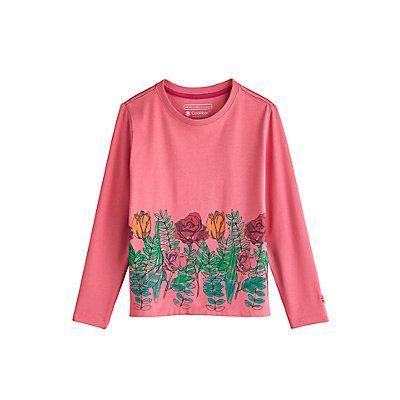 Coolibar---UV-Langarmshirt-für-Kinder---Flower-Garden---Pink