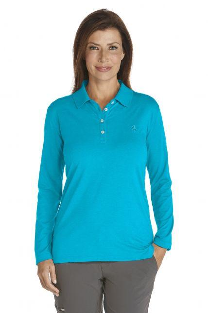 Coolibar---UV-Schutz-Langarm-Poloshirt-Damen---Türkis