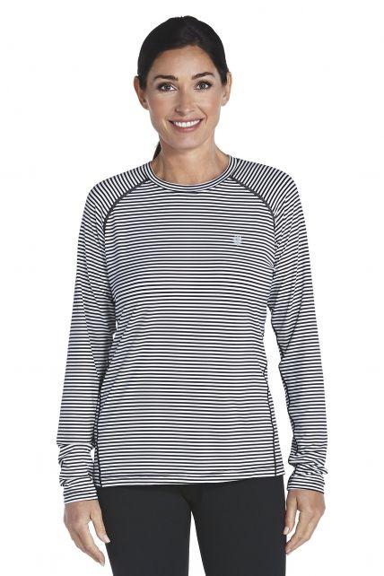 Coolibar---UV-Sport--Langarmshirt-Damen---schwarz/weiss